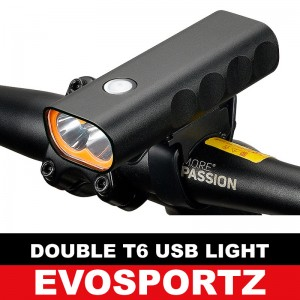 Double T6 USB Head Light