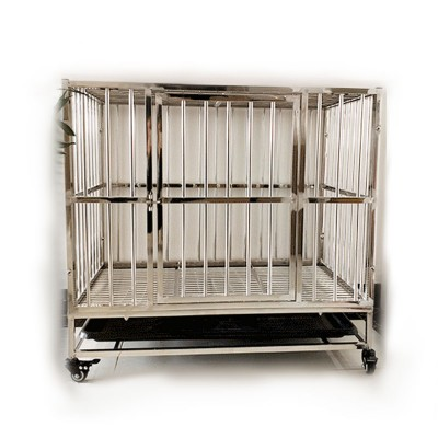 Stainless Steel Dog Cage (78cm x 52cm x 70cm)